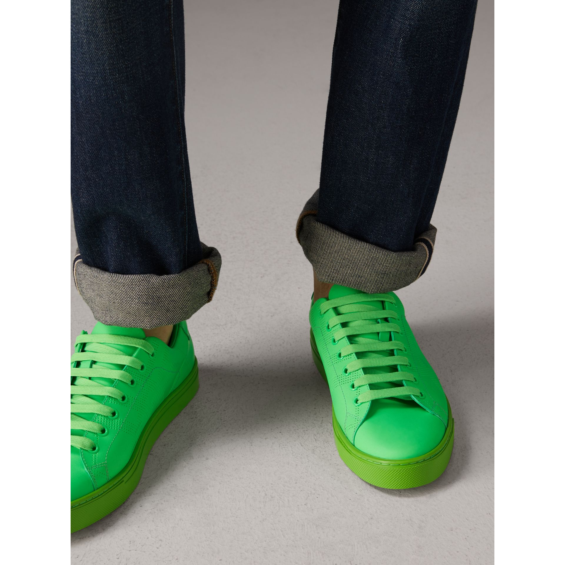 Perforated Check Leather Trainers in Neon Green - Men | Burberry - gallery image 2