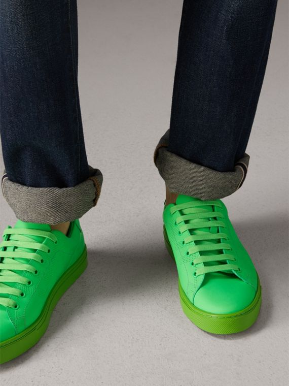 Perforated Check Leather Trainers in Neon Green - Men | Burberry - cell image 2