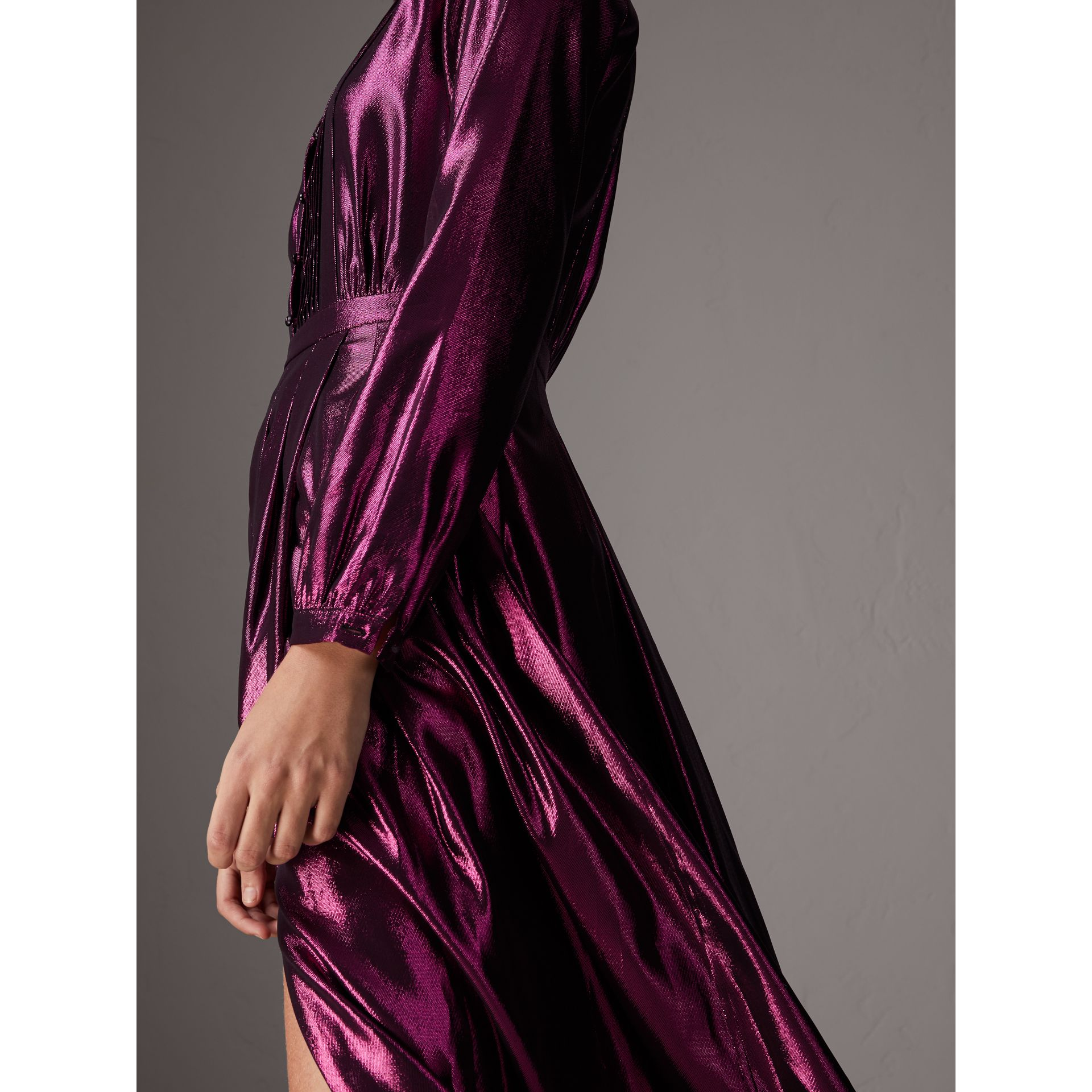 Long-sleeve Pintuck Lamé Dress in Bright Fuchsia - Women | Burberry United Kingdom - gallery image 1