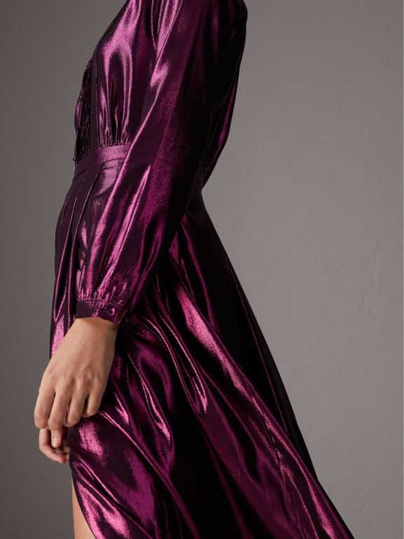 Long-sleeve Pintuck Lamé Dress in Bright Fuchsia - Women | Burberry - cell image 1