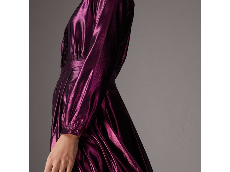 Long-sleeve Pintuck Lamé Dress in Bright Fuchsia - Women | Burberry United Kingdom - cell image 1