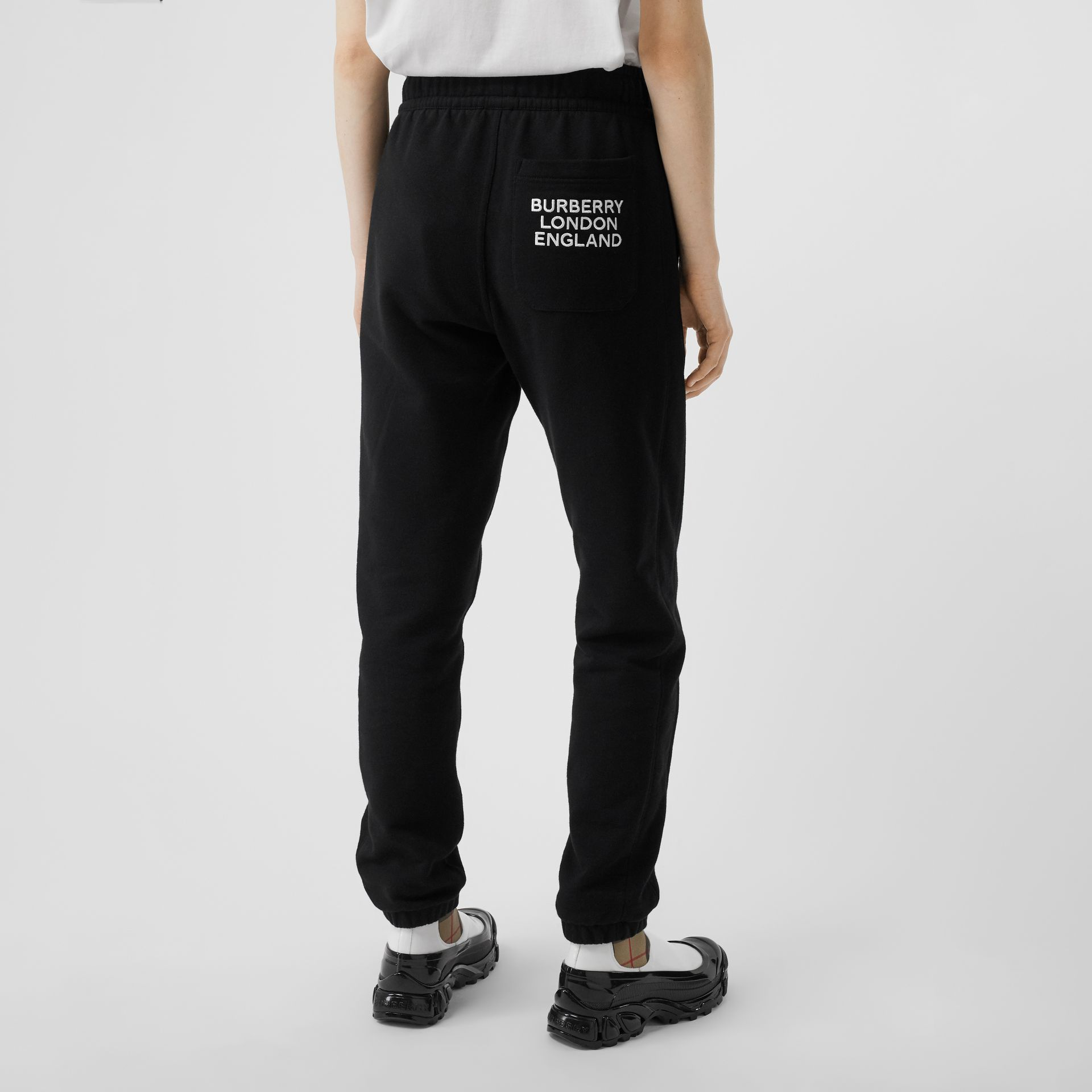 Embroidered Logo Cotton Trackpants in Black - Women | Burberry - gallery image 4