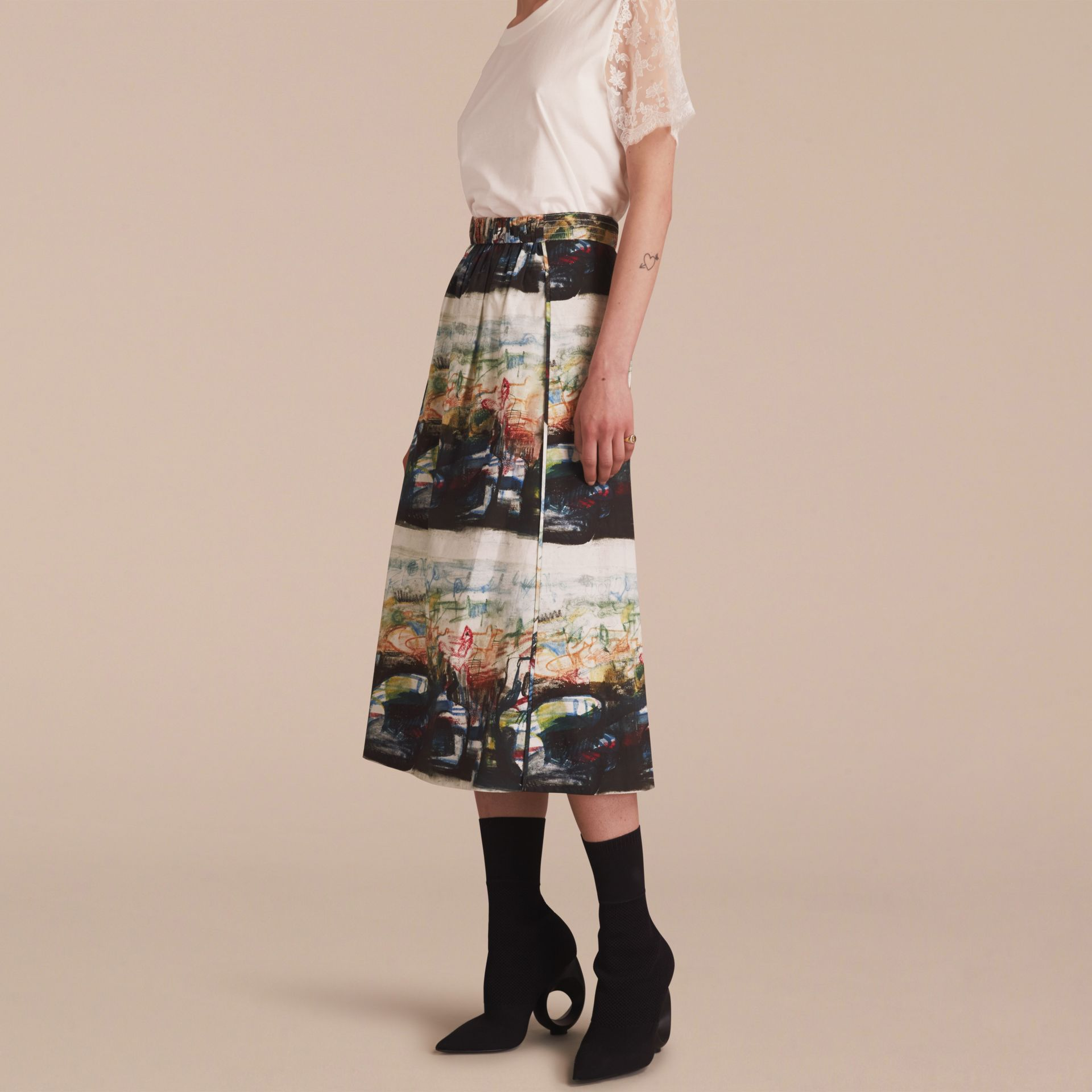 Reclining Figures: Bunched Print Stretch Cotton Skirt - gallery image 6