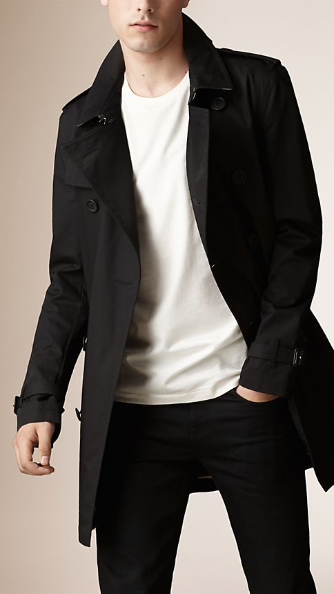 Black Cotton Twill Trench Coat - Image 1