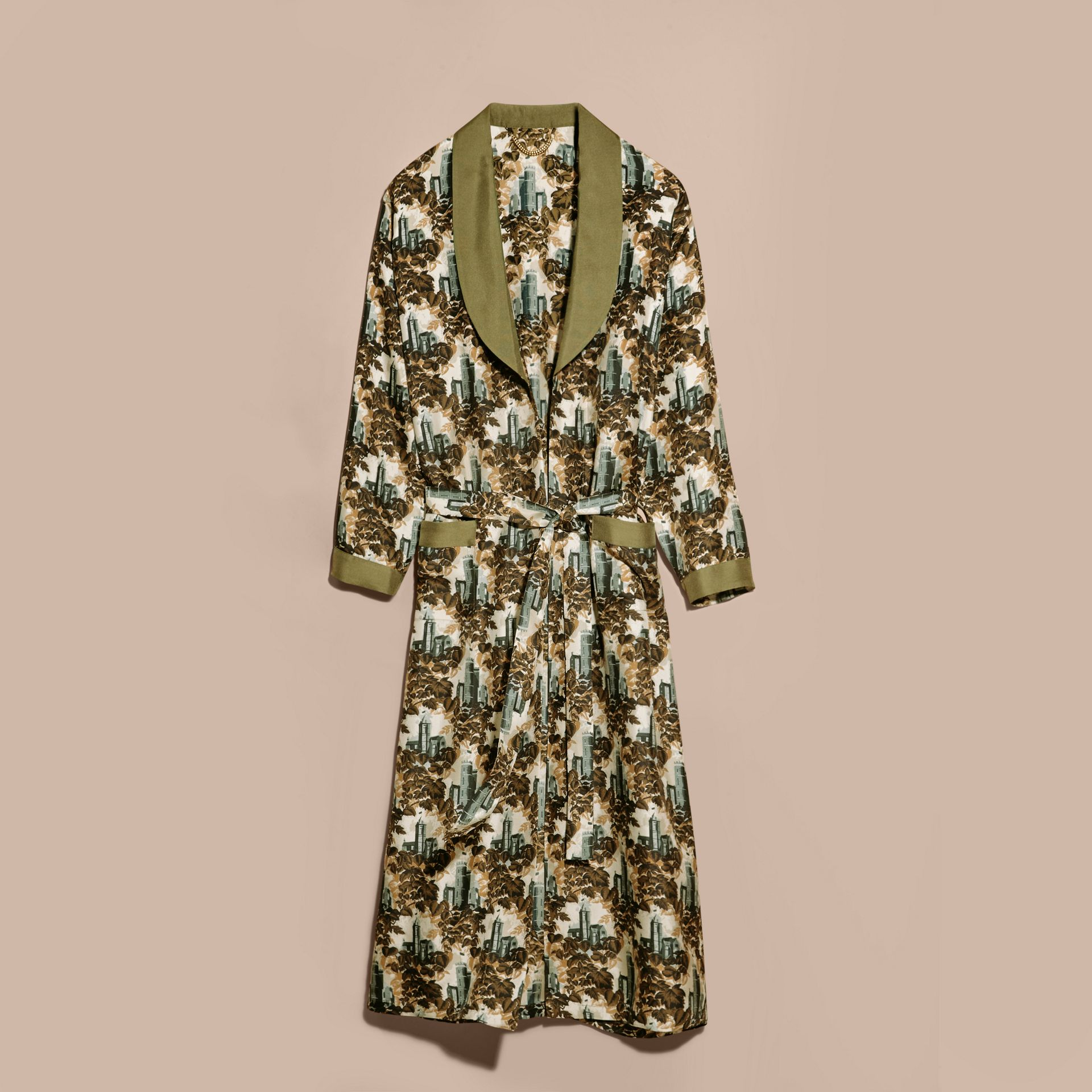Olive green Castle Print Silk Twill Dressing Gown Coat - gallery image 4