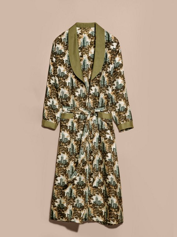 Verde oliva Cappotto a vestaglia in twill di seta con stampa castello - cell image 3