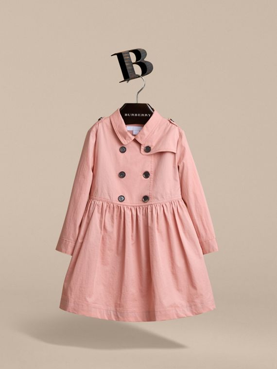 Check Detail Stretch Cotton Trench Dress in Pale Rose - Girl | Burberry - cell image 2