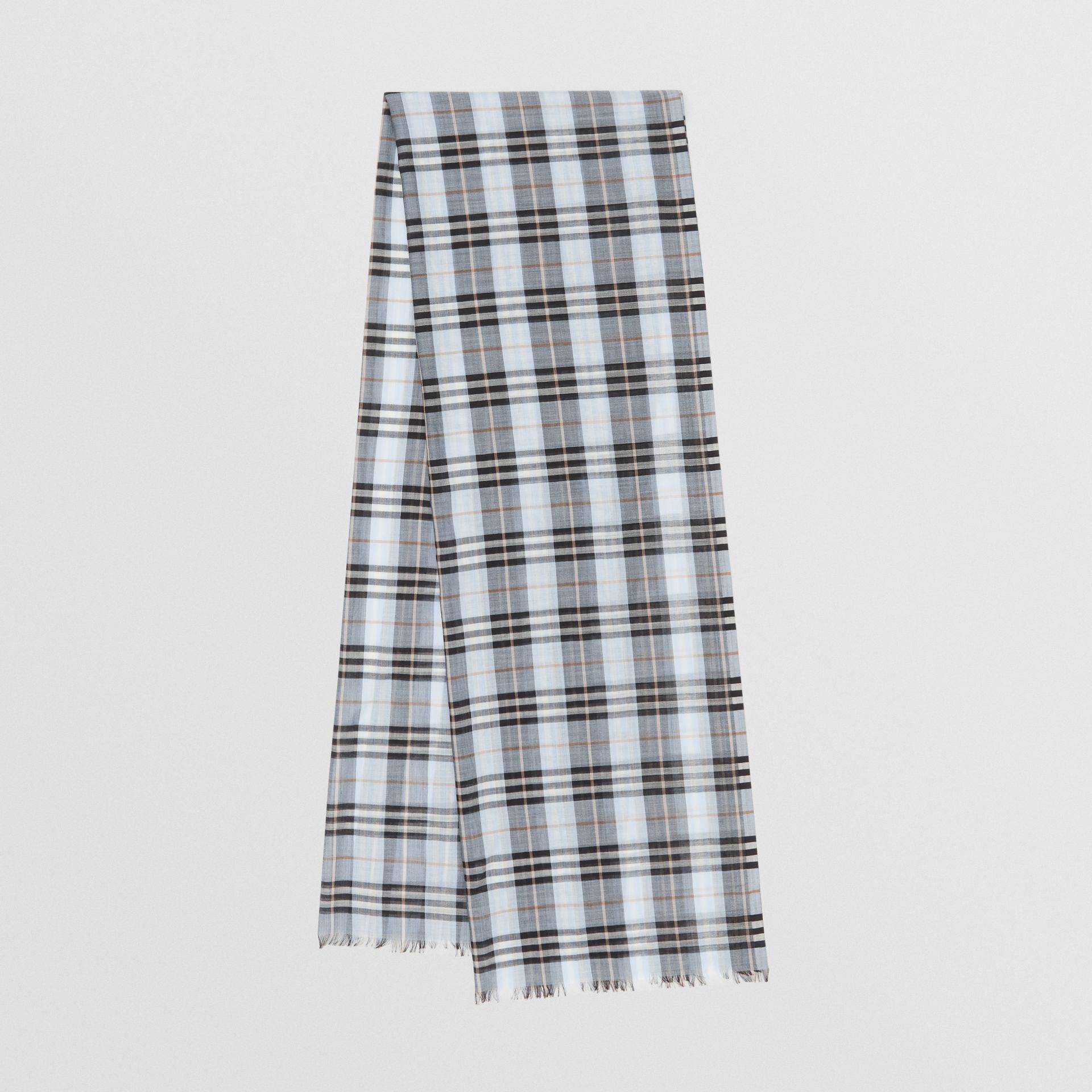 Vintage Check Lightweight Wool Silk Scarf in Pale Blue | Burberry - gallery image 0