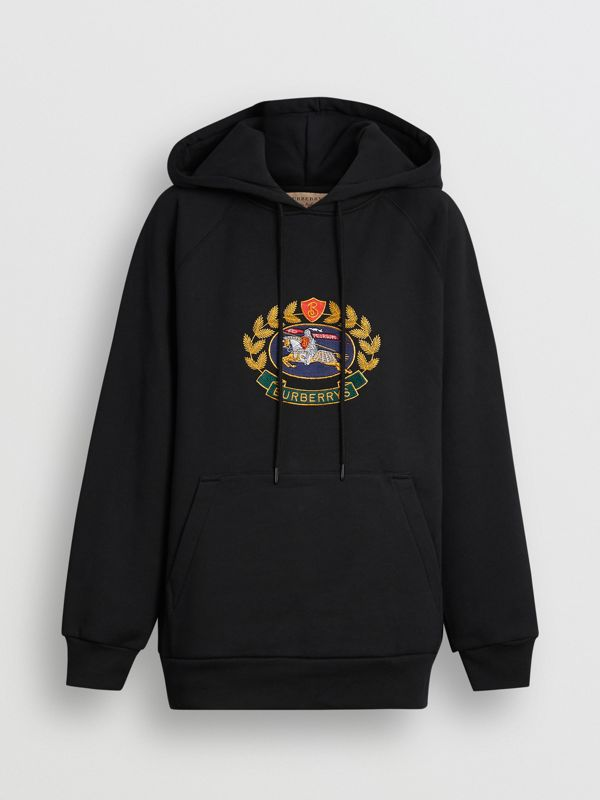 Embroidered Archive Logo Oversized Hoodie in Black - Women | Burberry - cell image 3