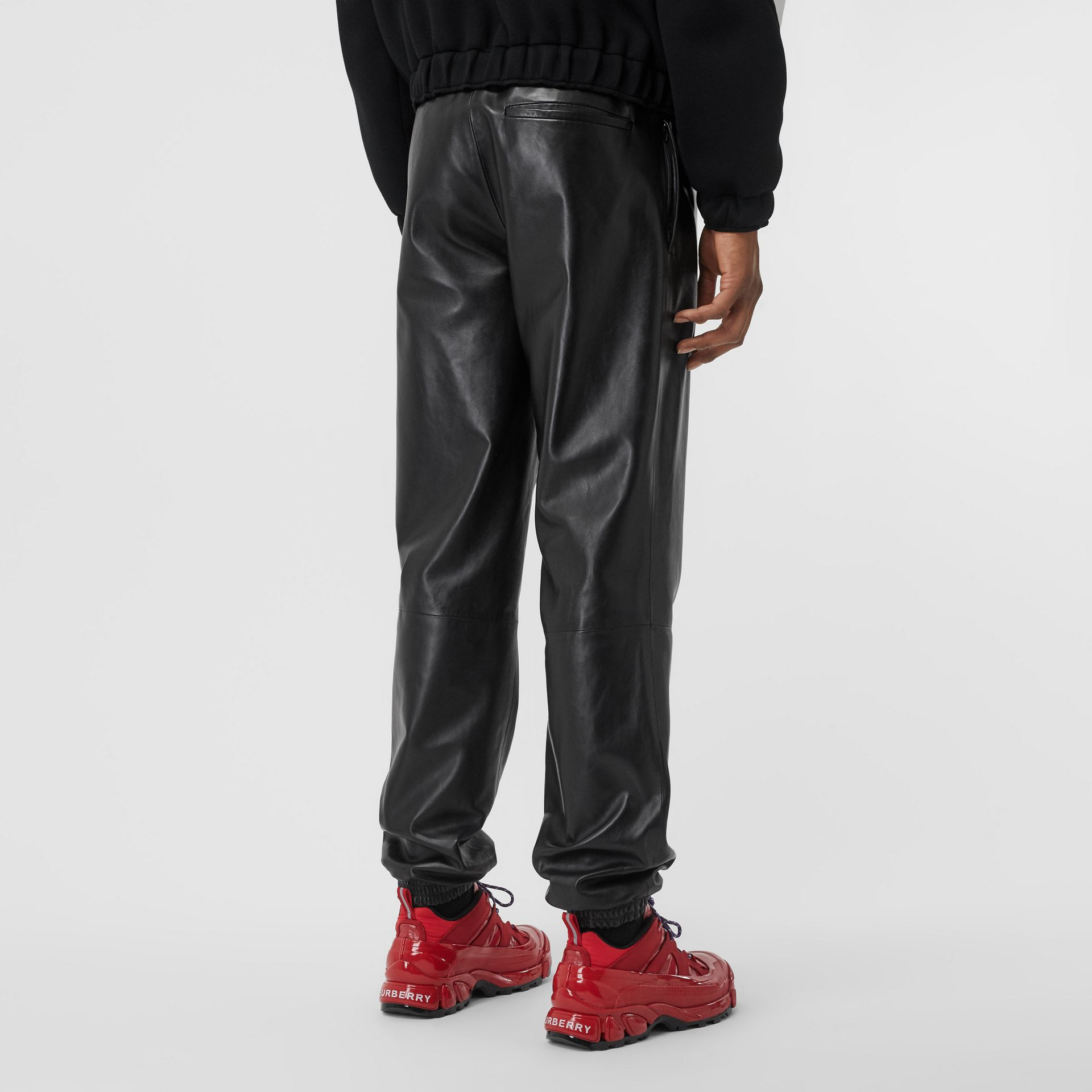 Plonge Lambskin Trackpants in Black - Men | Burberry - gallery image 2