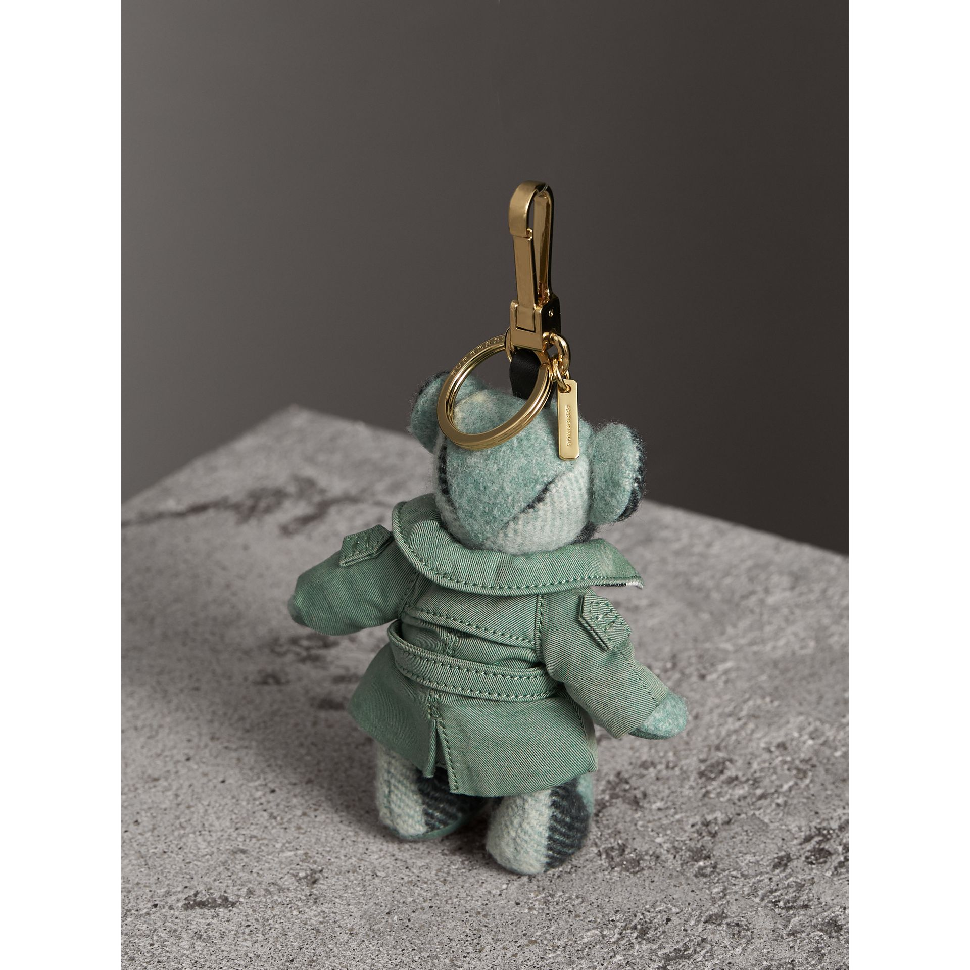 Thomas Bear Charm with Tropical Gabardine Trench Coat in Dusty Mint - Women | Burberry Australia - gallery image 3