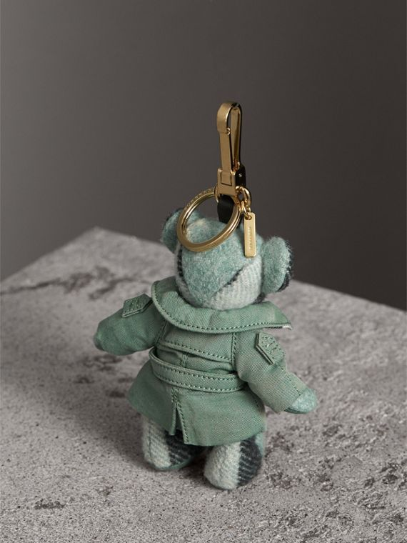 Thomas Bear Charm with Tropical Gabardine Trench Coat in Dusty Mint - Women | Burberry Australia - cell image 3