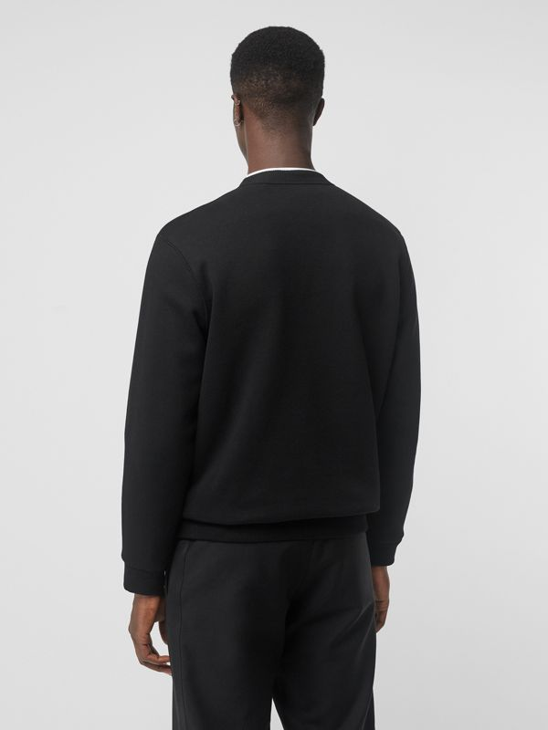 Metal Letter Logo Sweatshirt in Black - Men | Burberry Hong Kong - cell image 2