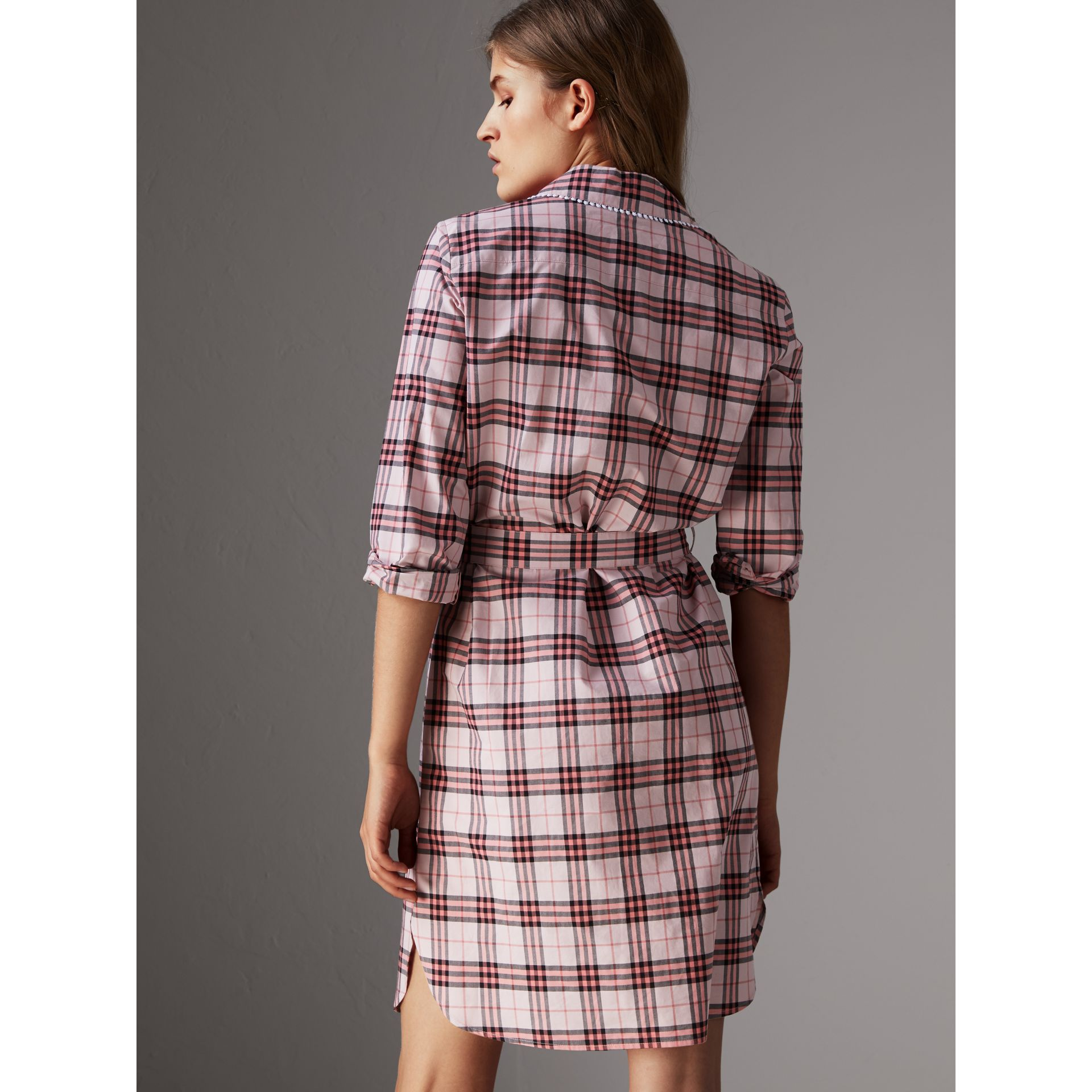 Lace Trim Collar Check Cotton Shirt Dress in Pink Azalea - Women | Burberry - gallery image 2