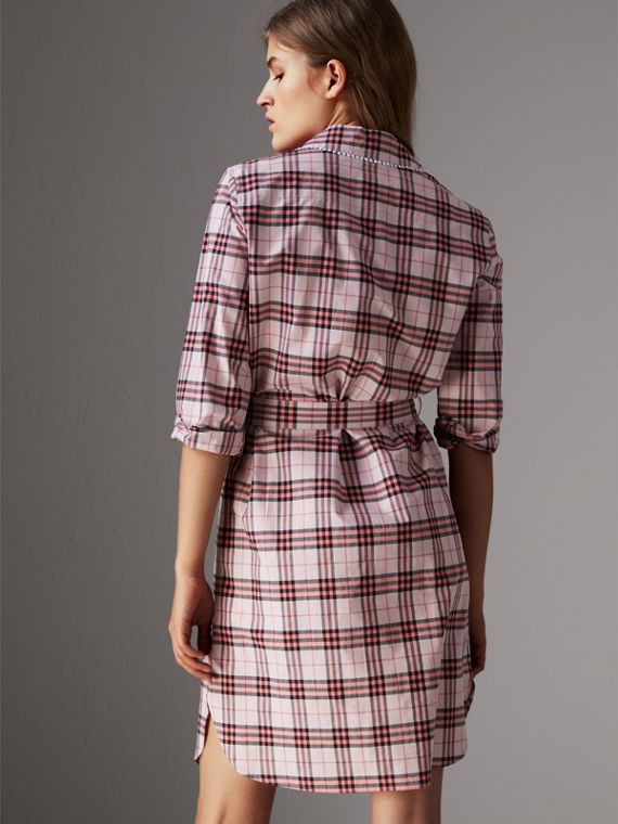 Lace Trim Collar Check Cotton Shirt Dress in Pink Azalea - Women | Burberry United Kingdom - cell image 2