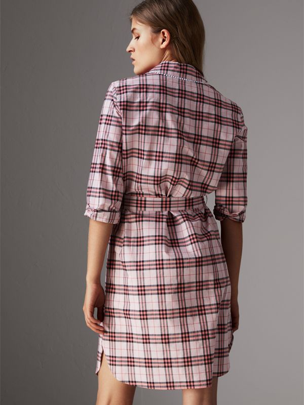 Lace Trim Collar Check Cotton Shirt Dress in Pink Azalea - Women | Burberry - cell image 2