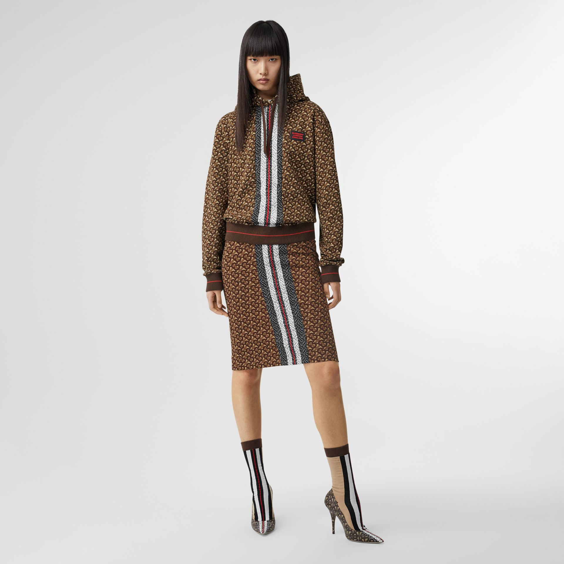Monogram Stripe Print Cotton Oversized Hoodie in Bridle Brown - Women | Burberry Hong Kong - gallery image 0