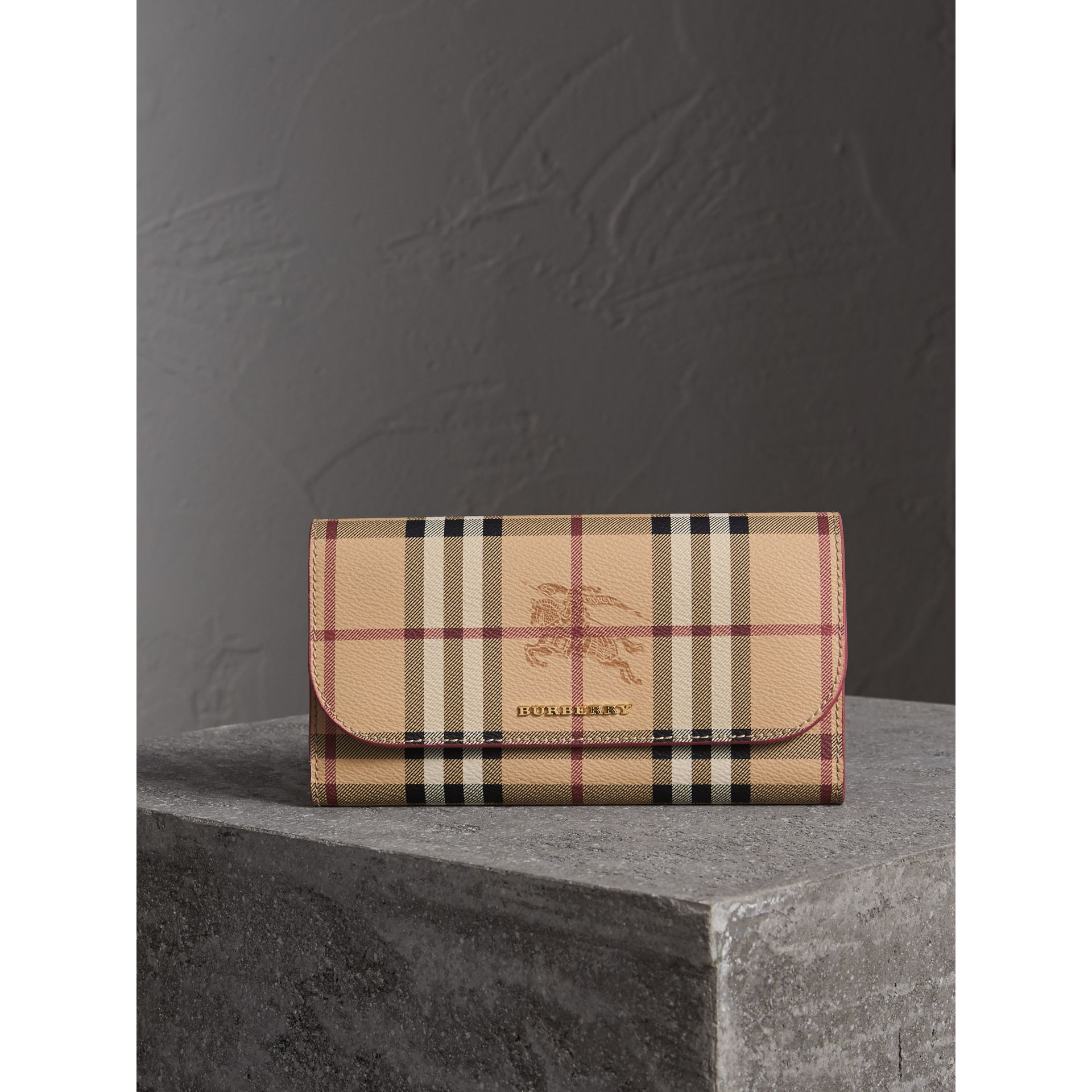 Haymarket Check and Leather Slim Continental Wallet in Coral Red - Women | Burberry - gallery image 5