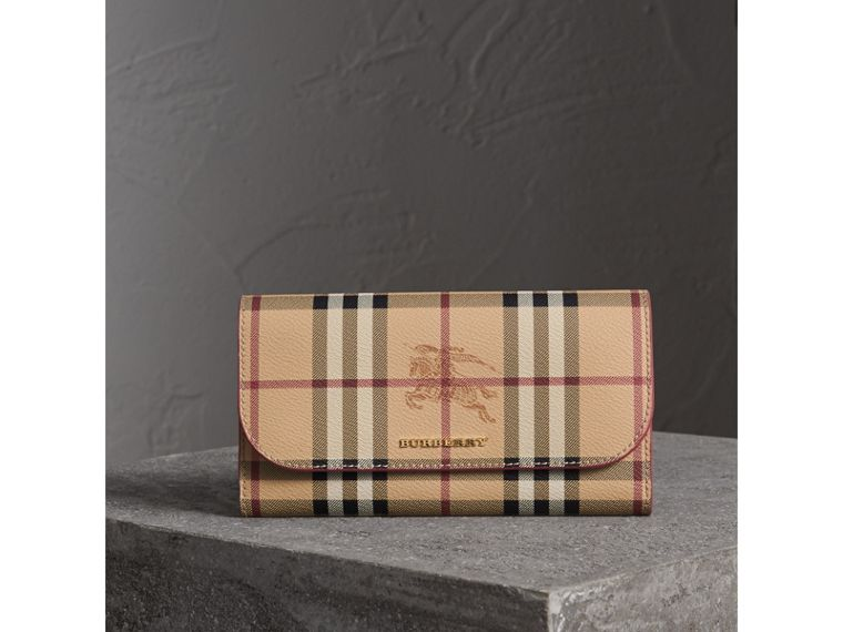 Haymarket Check and Leather Slim Continental Wallet in Coral Red - Women | Burberry Australia - cell image 4