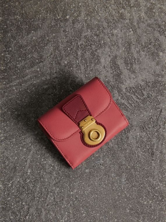 Two-tone Trench Leather Wallet in Blossom Pink/ Antique Red