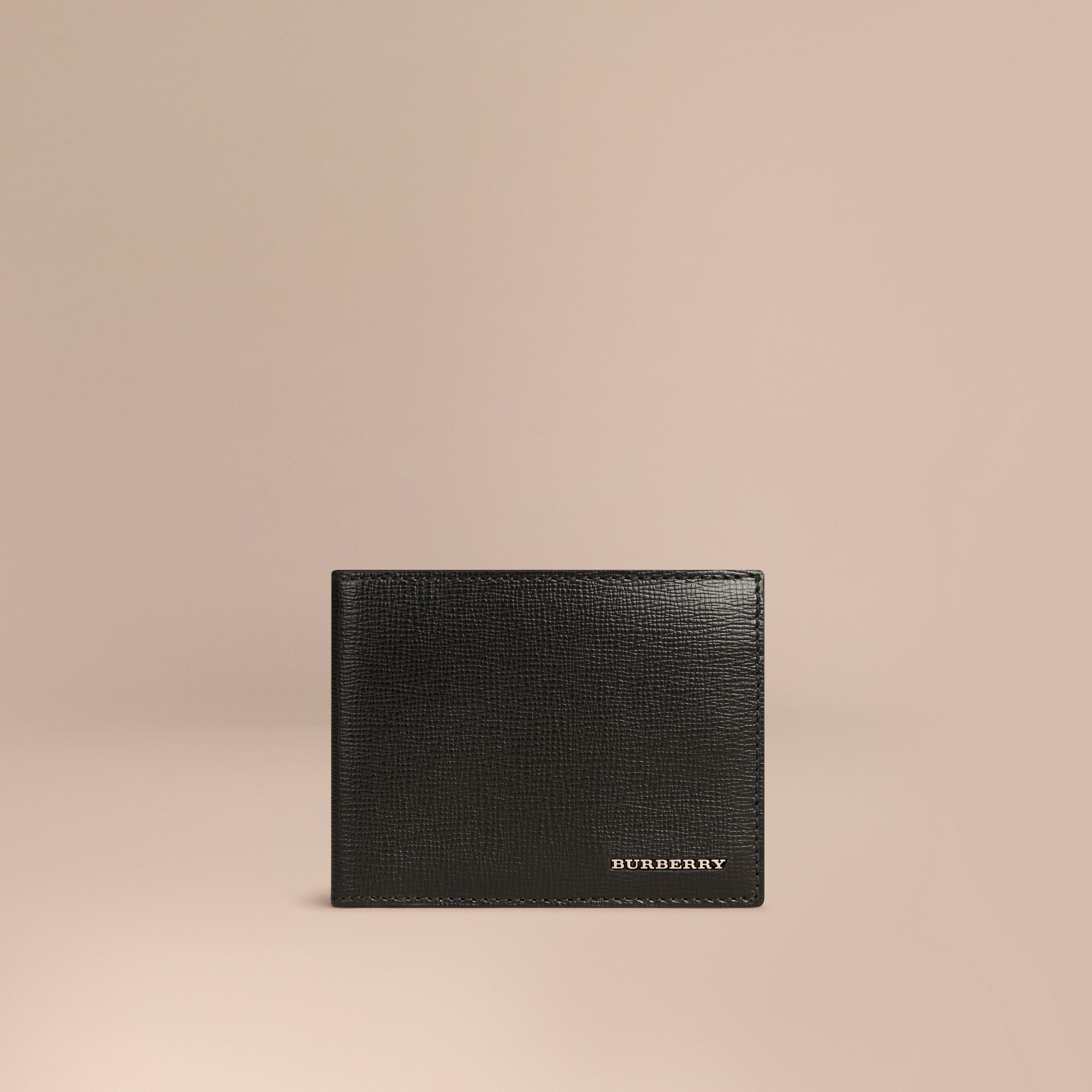 Schwarz Faltbrieftasche aus London-Leder Schwarz - Galerie-Bild 1