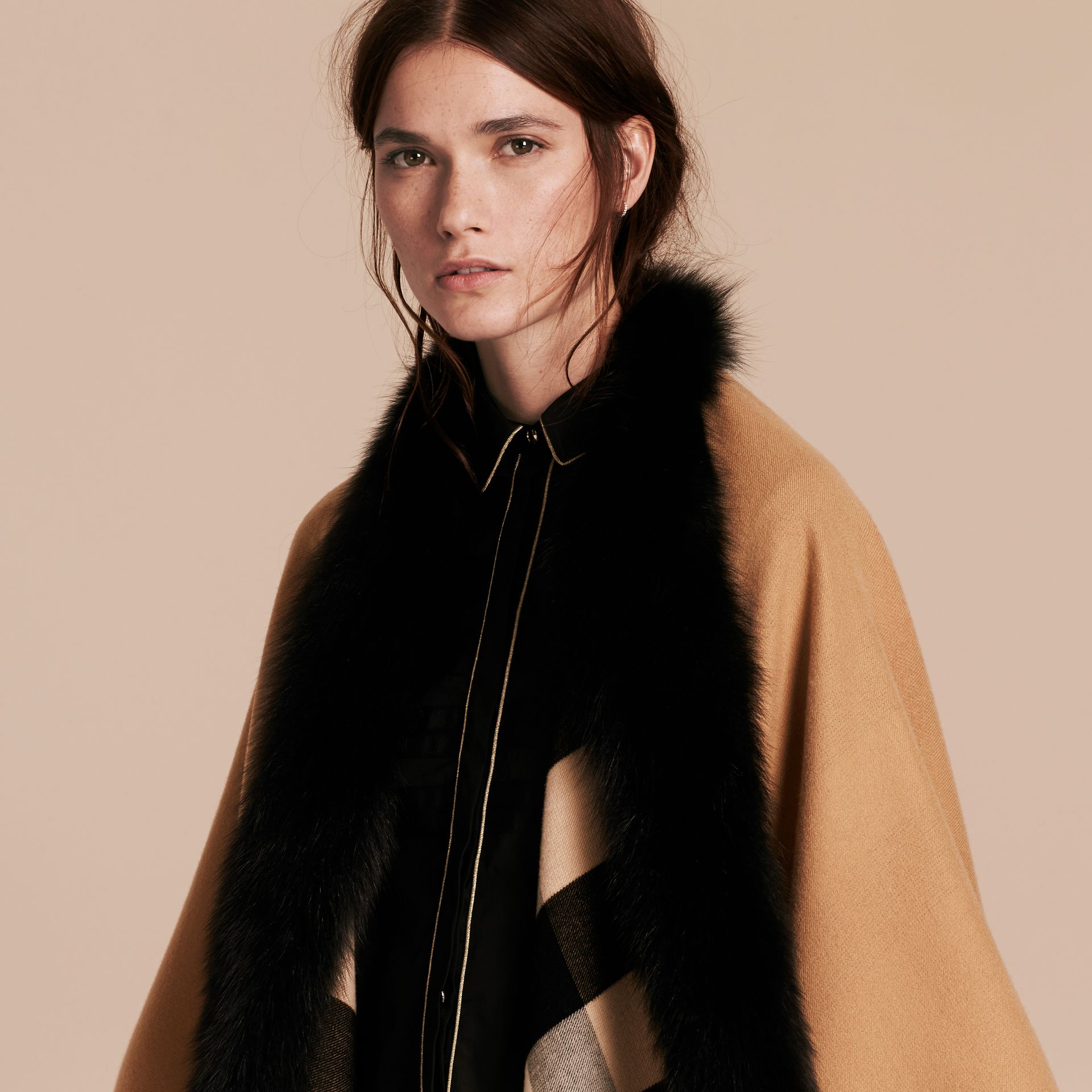 Check Merino Wool Poncho with Fox Fur Trim in Camel - Women | Burberry - gallery image 5