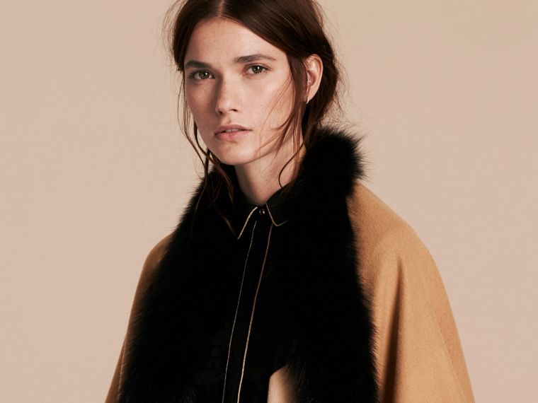 Check Merino Wool Poncho with Fox Fur Trim in Camel - Women | Burberry - cell image 4
