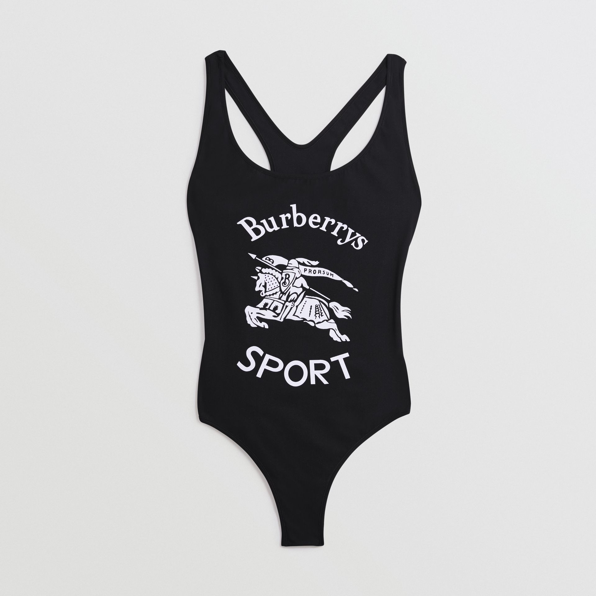 Archive Logo Print Swimsuit in Black - Women | Burberry - gallery image 2