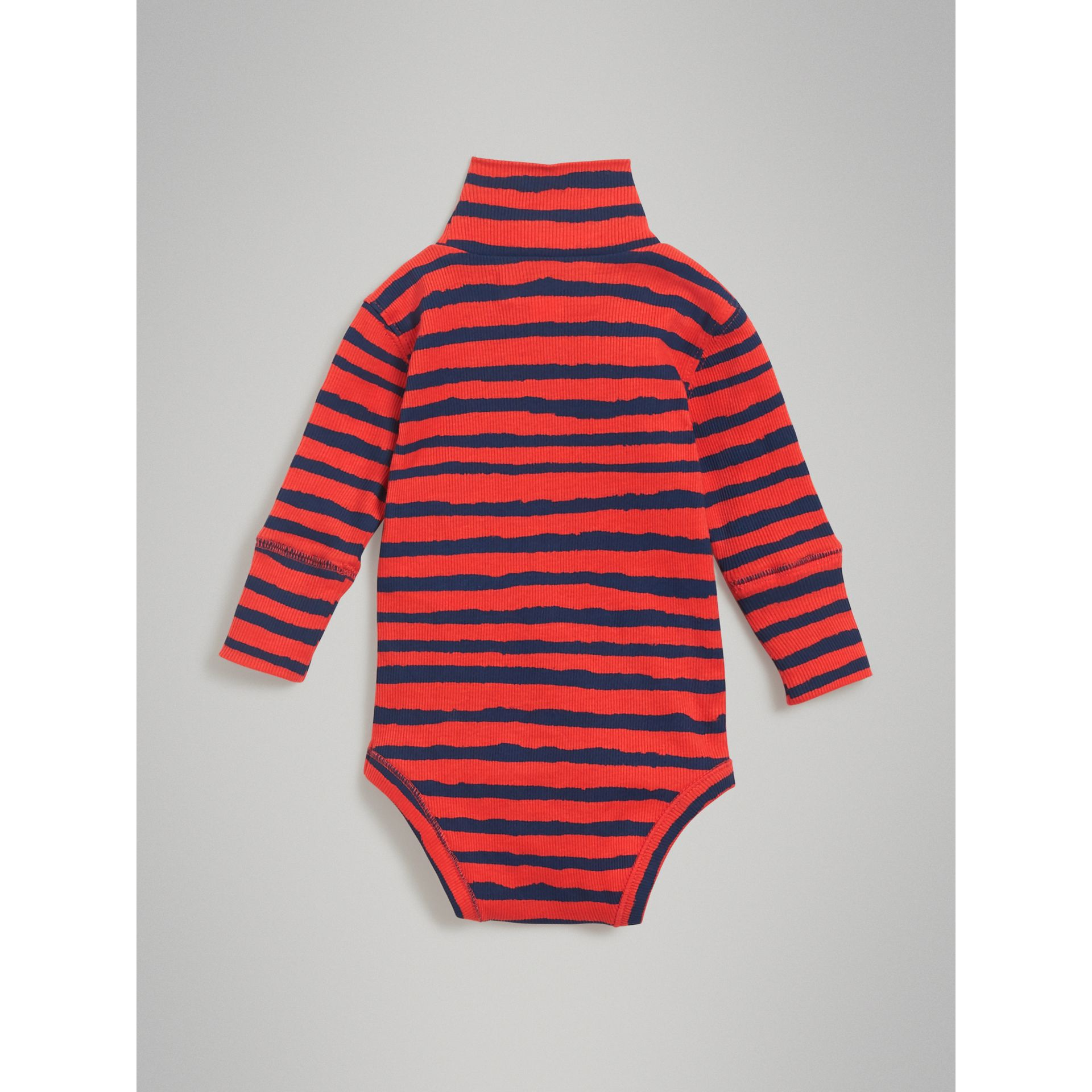 Roll-neck Striped Cotton Bodysuit in Orange Red - Children | Burberry - gallery image 3