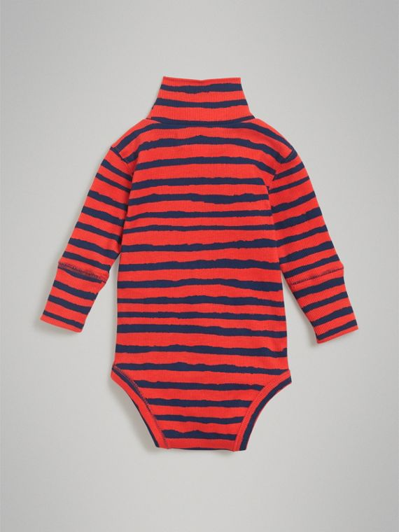 Roll-neck Striped Cotton Bodysuit in Orange Red | Burberry - cell image 3