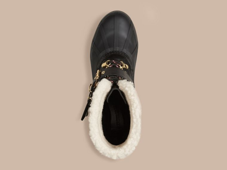 Sueded Shearling and Check Duck Boots in Black - Women | Burberry Singapore - cell image 4