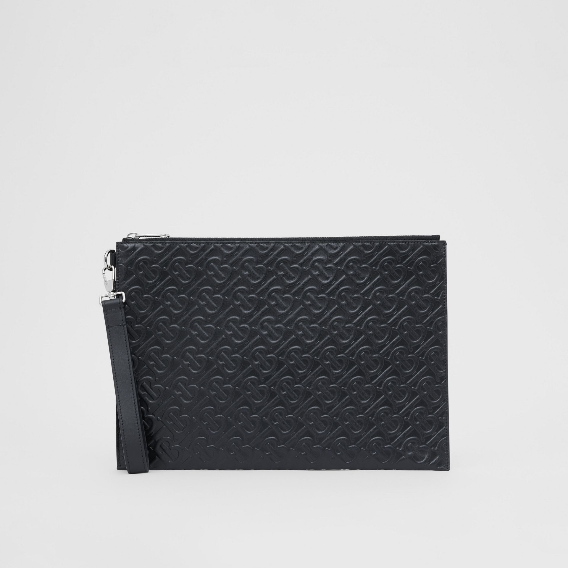 Large Monogram Leather Zip Pouch in Black | Burberry United Kingdom - gallery image 3