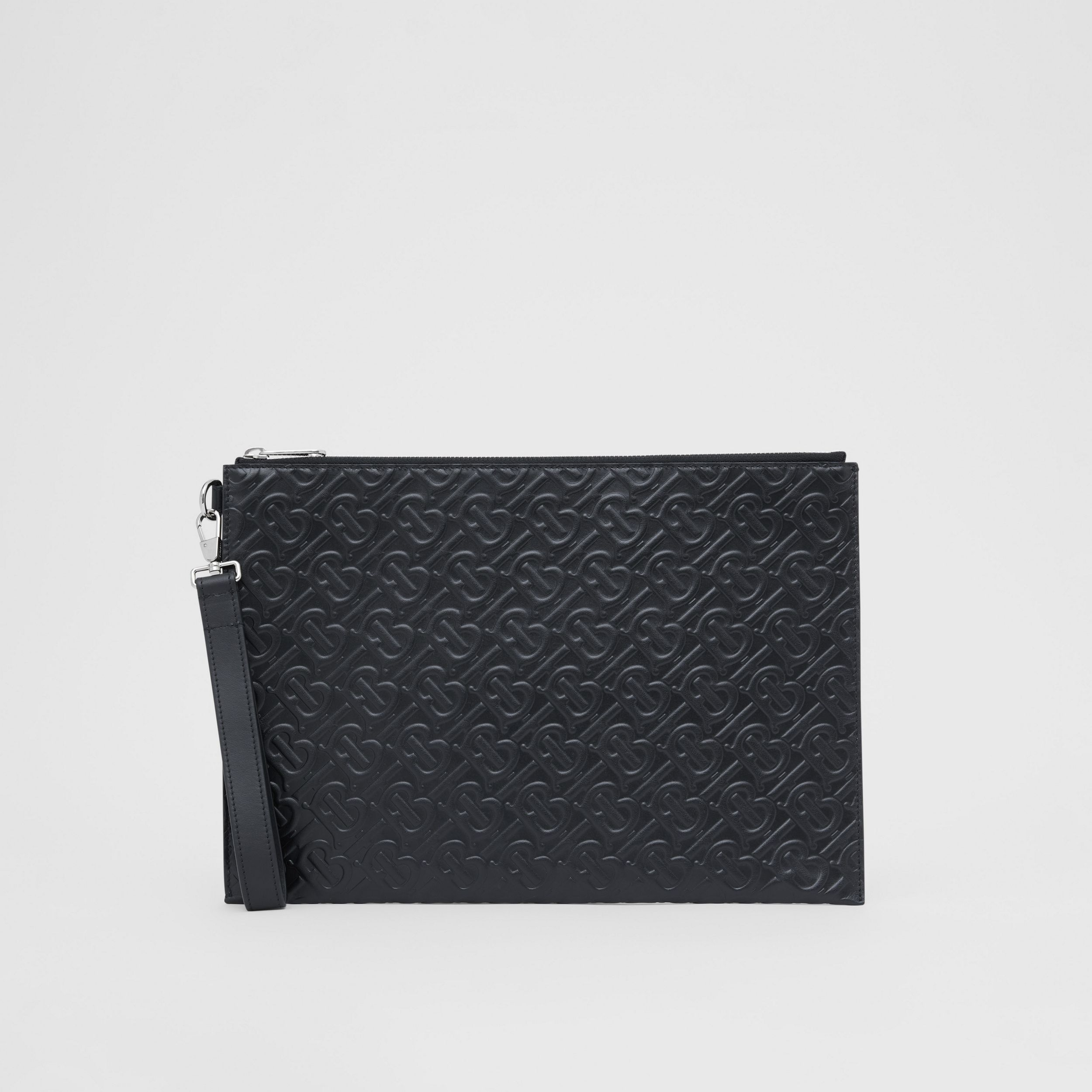 Large Monogram Leather Zip Pouch in Black | Burberry - 4
