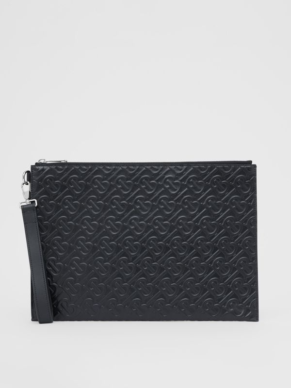 Large Monogram Leather Zip Pouch in Black | Burberry United Kingdom - cell image 3