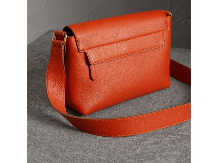 Small Embossed Leather Messenger Bag in Dark Clementine - Women | Burberry United States - cell image 4