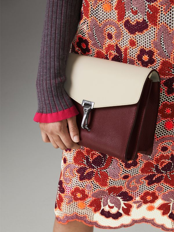 Two-tone Leather Crossbody Bag in Mahogany Red/limestone - Women | Burberry Hong Kong - cell image 3