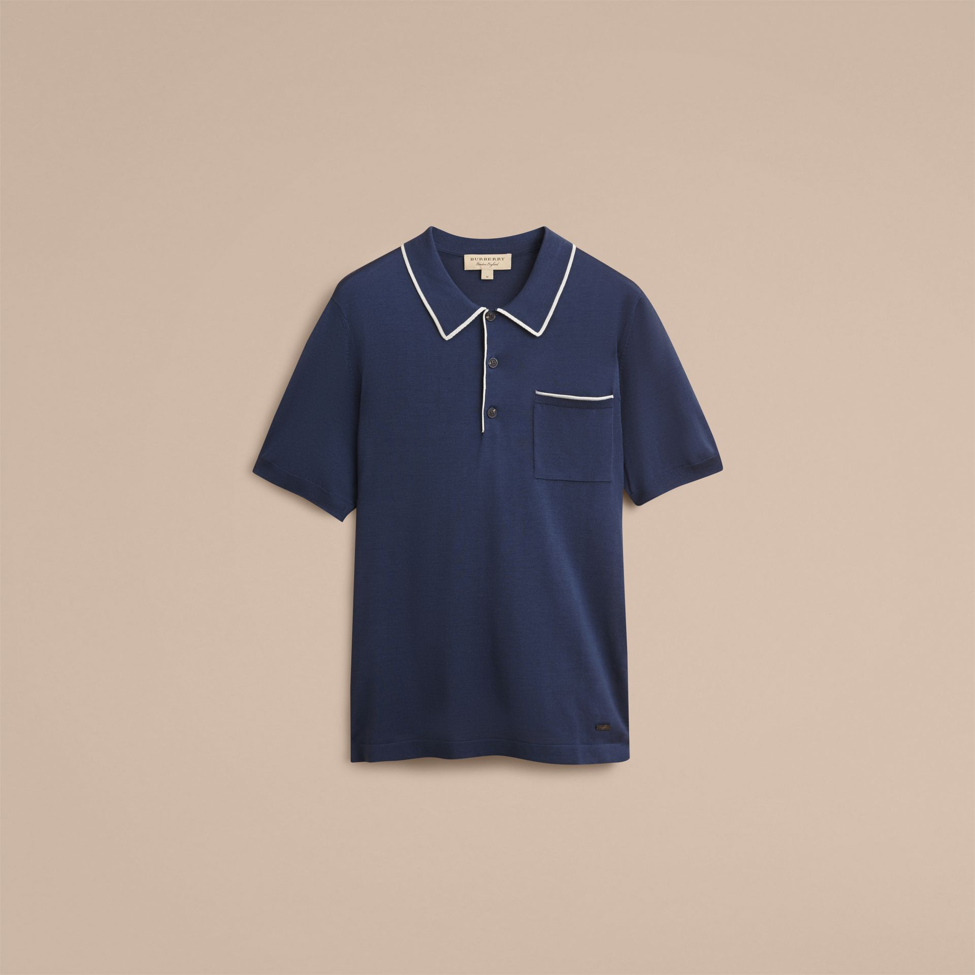 Tipped Detail Knitted Silk Polo Shirt - gallery image 4