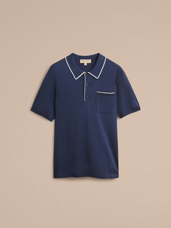 Tipped Detail Knitted Silk Polo Shirt - cell image 3