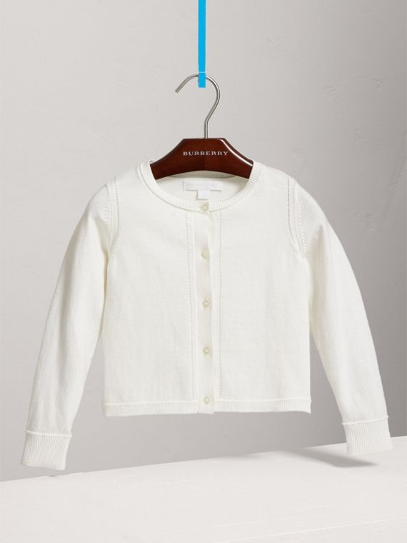 Check Cuff Cotton Knit Cardigan in White