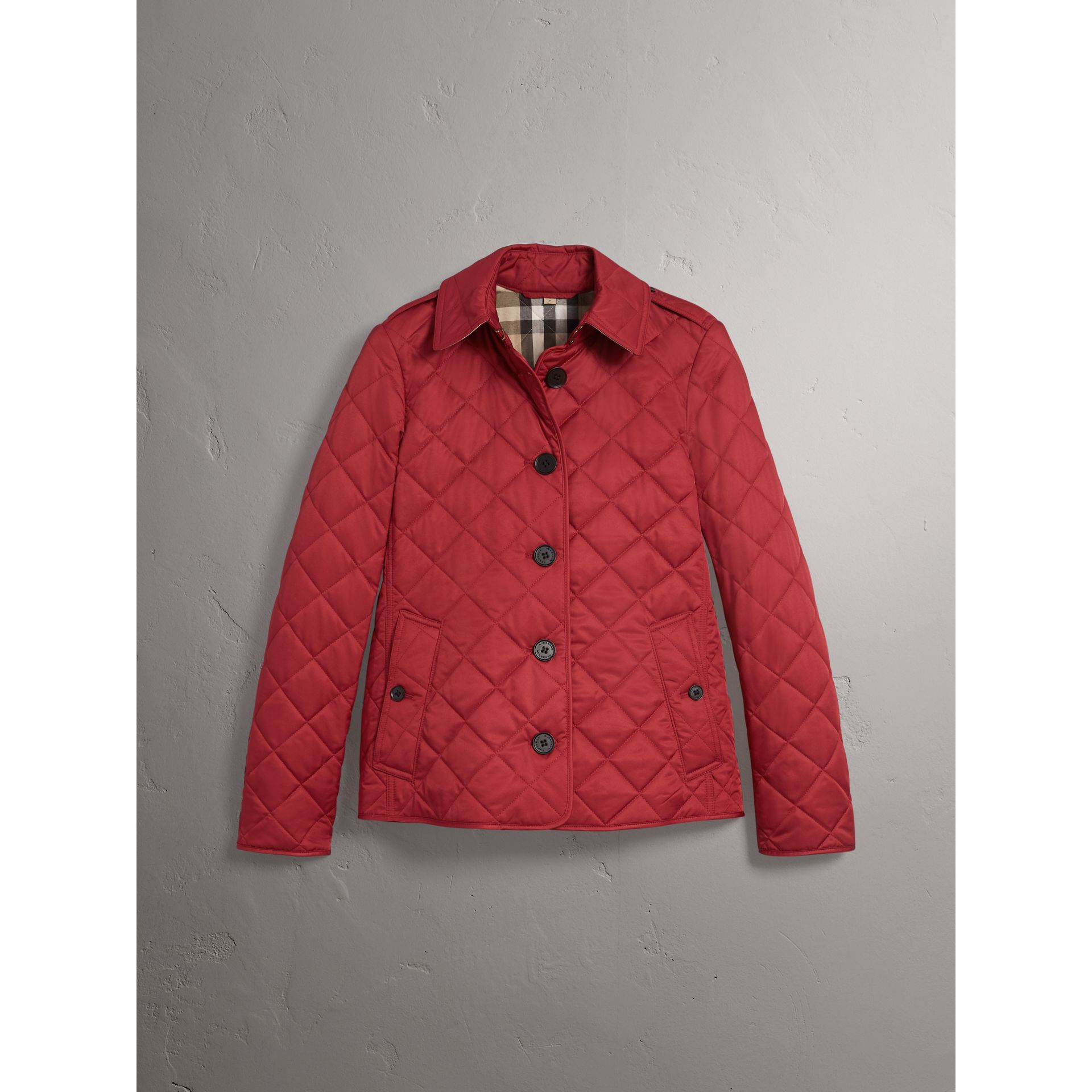 Diamond Quilted Jacket in Parade Red - Women | Burberry United States - gallery image 4