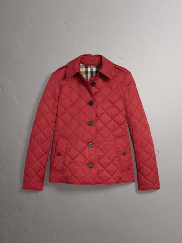 Diamond Quilted Jacket in Parade Red - Women | Burberry - cell image 3
