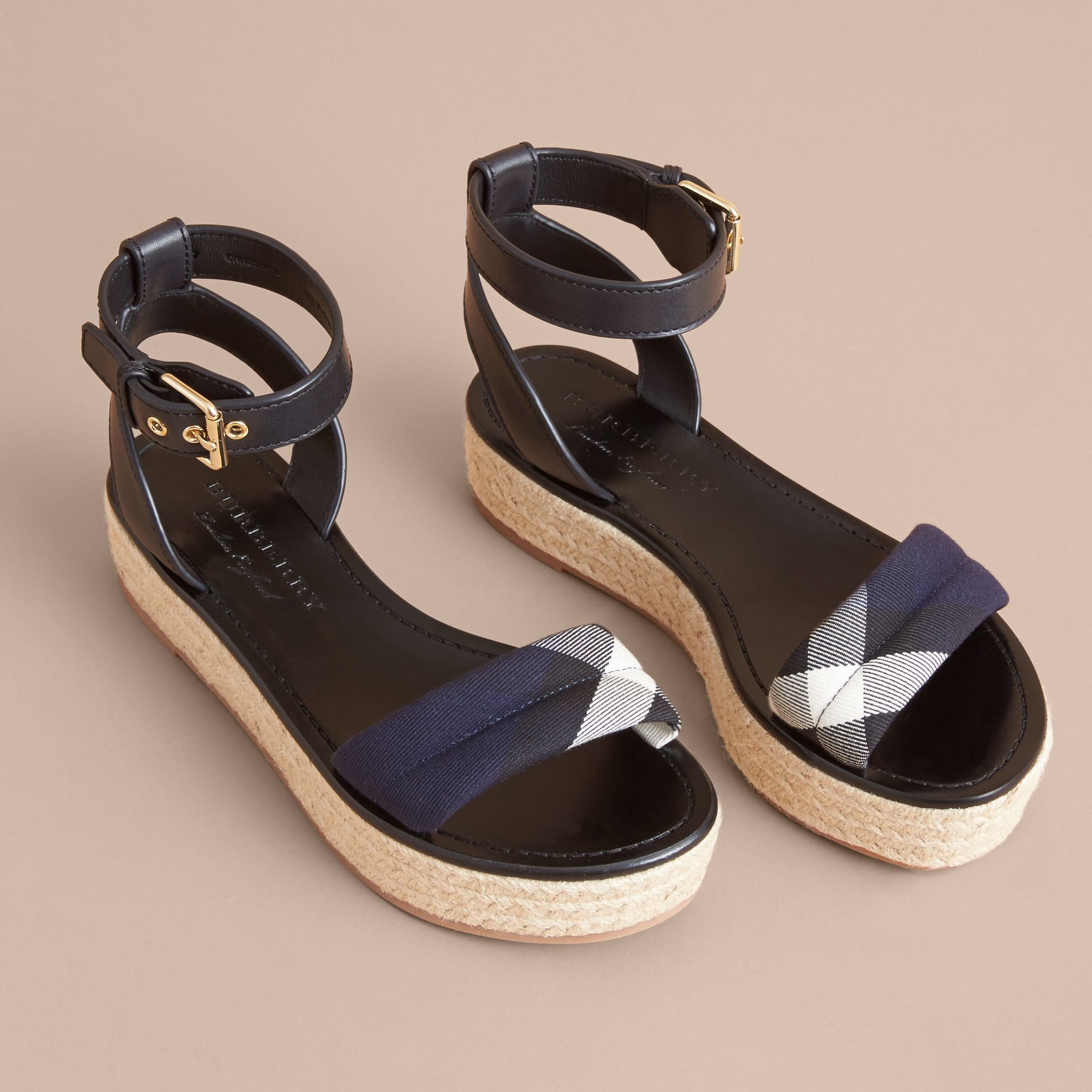 Leather and House Check Espadrille Platform Sandals Navy - gallery image 4