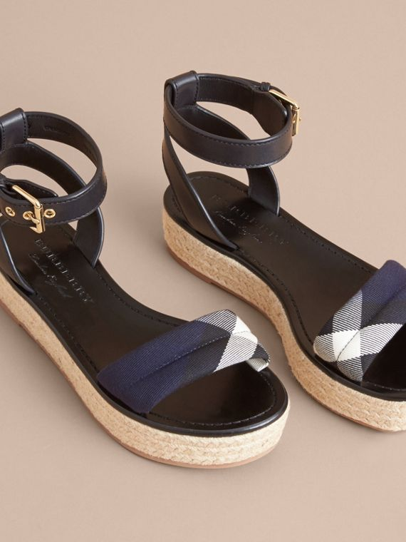 Leather and House Check Espadrille Platform Sandals Navy - cell image 3