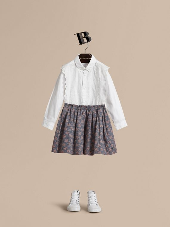 Leaf Pattern Cotton Skirt