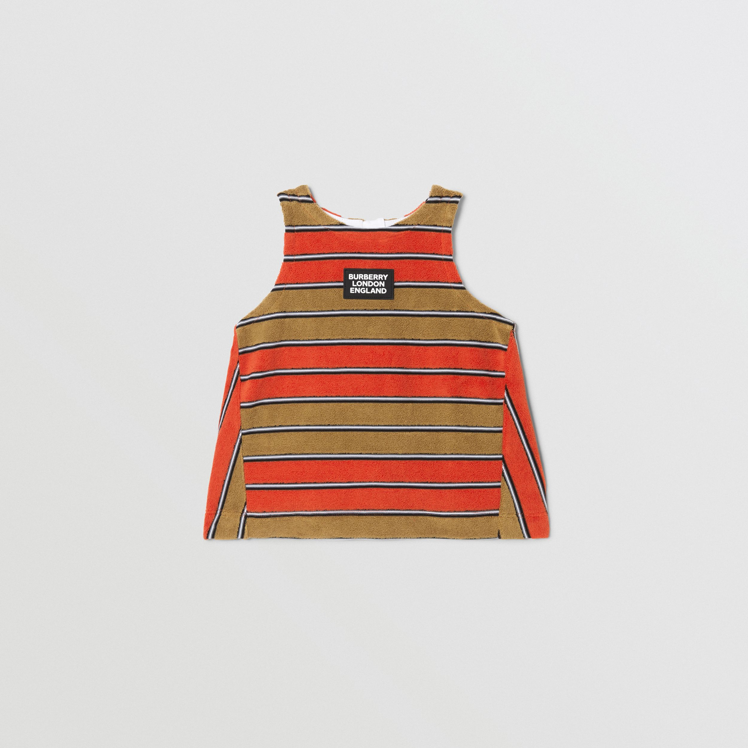 Logo Appliqué Striped Towelling Top in Vermilion Red - Children | Burberry Australia - 1