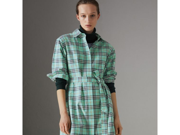Tie-waist Check Cotton Shirt Dress in Bright Aqua - Women | Burberry - cell image 4