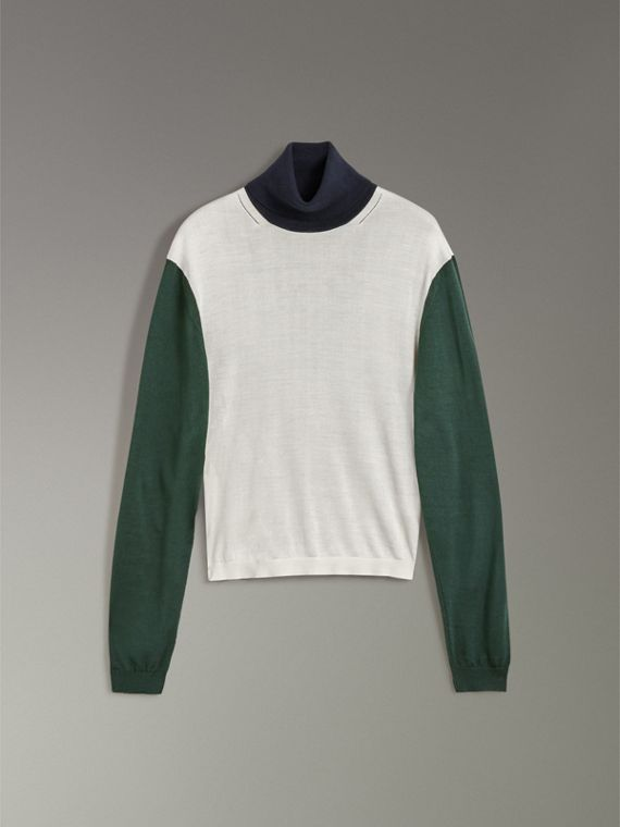 Colour-block Silk Cashmere Roll-neck Sweater in Natural White - Women | Burberry Singapore - cell image 3
