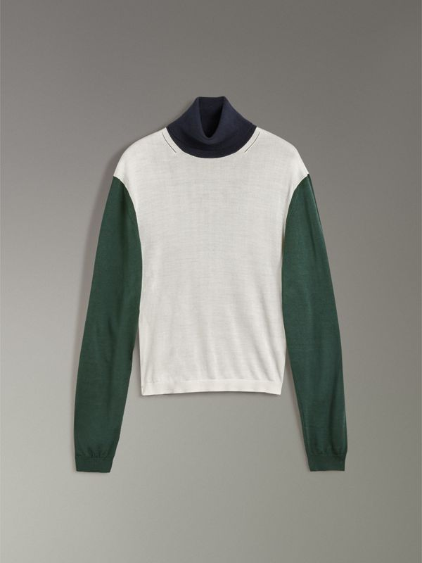 Colour Block Silk Cashmere Roll-neck Sweater in Natural White - Women | Burberry - cell image 3