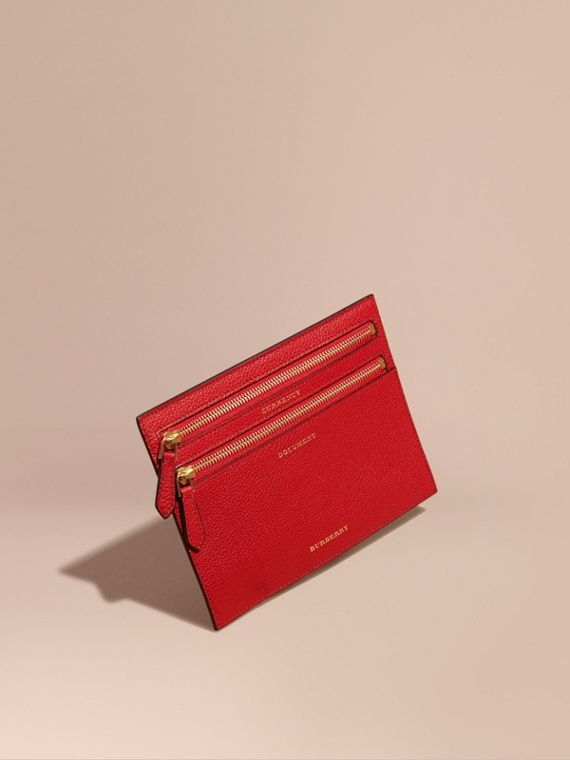 Grainy Leather Currency Wallet in Parade Red