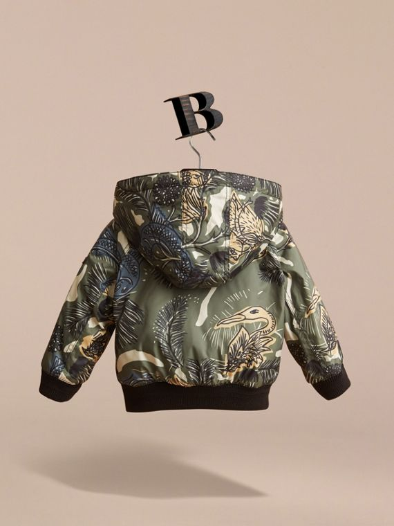 Beasts Print Hooded Bomber Jacket in Sage Green | Burberry - cell image 3